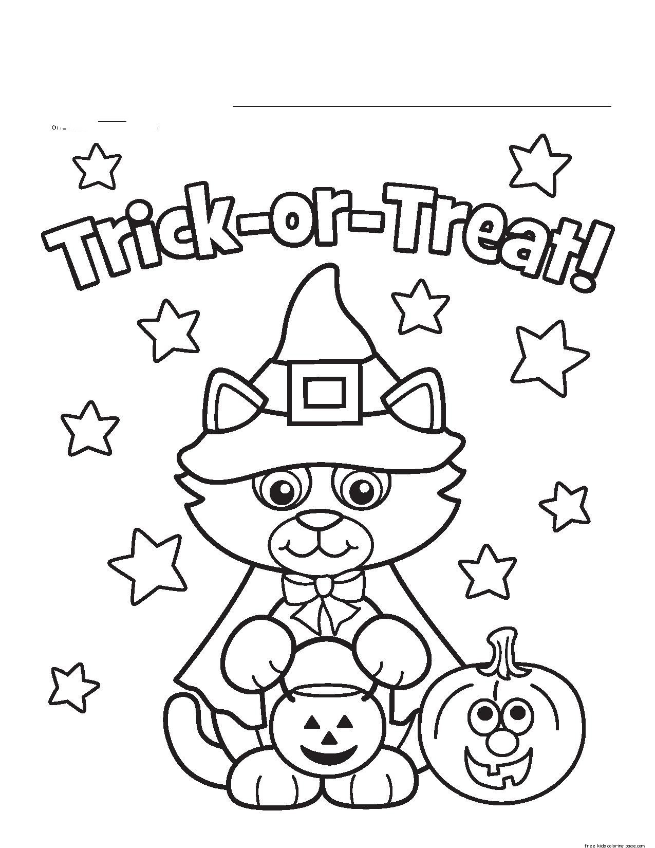 Best ideas about Free Coloring Sheets For Kids Halloween Themed . Save or Pin Halloween Kitty Costume Printable coloring pages for Now.