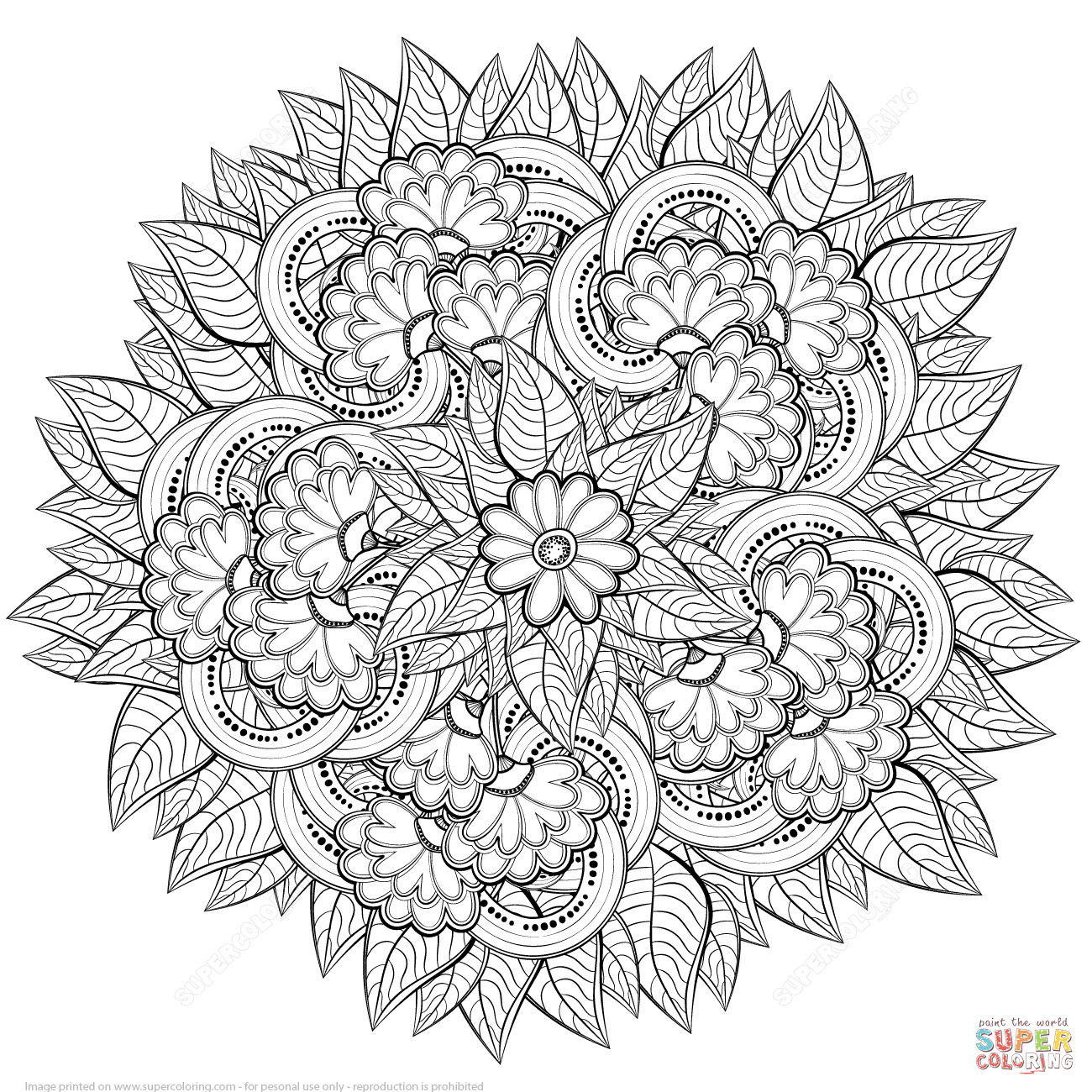 Best ideas about Free Printable Coloring Pages For Adults Hard That Are Zentangles . Save or Pin Abstract Flowers Zentangle coloring page Now.