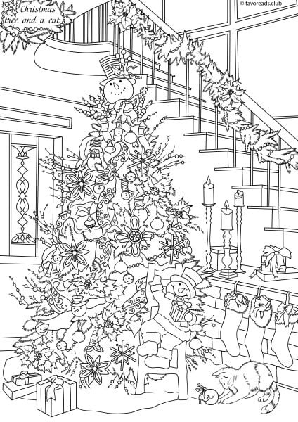 Best ideas about Free Printable Coloring Sheets For Adults Winter Pine Tree . Save or Pin Cats and Dogs Christmas Tree Printable Adult Coloring Now.