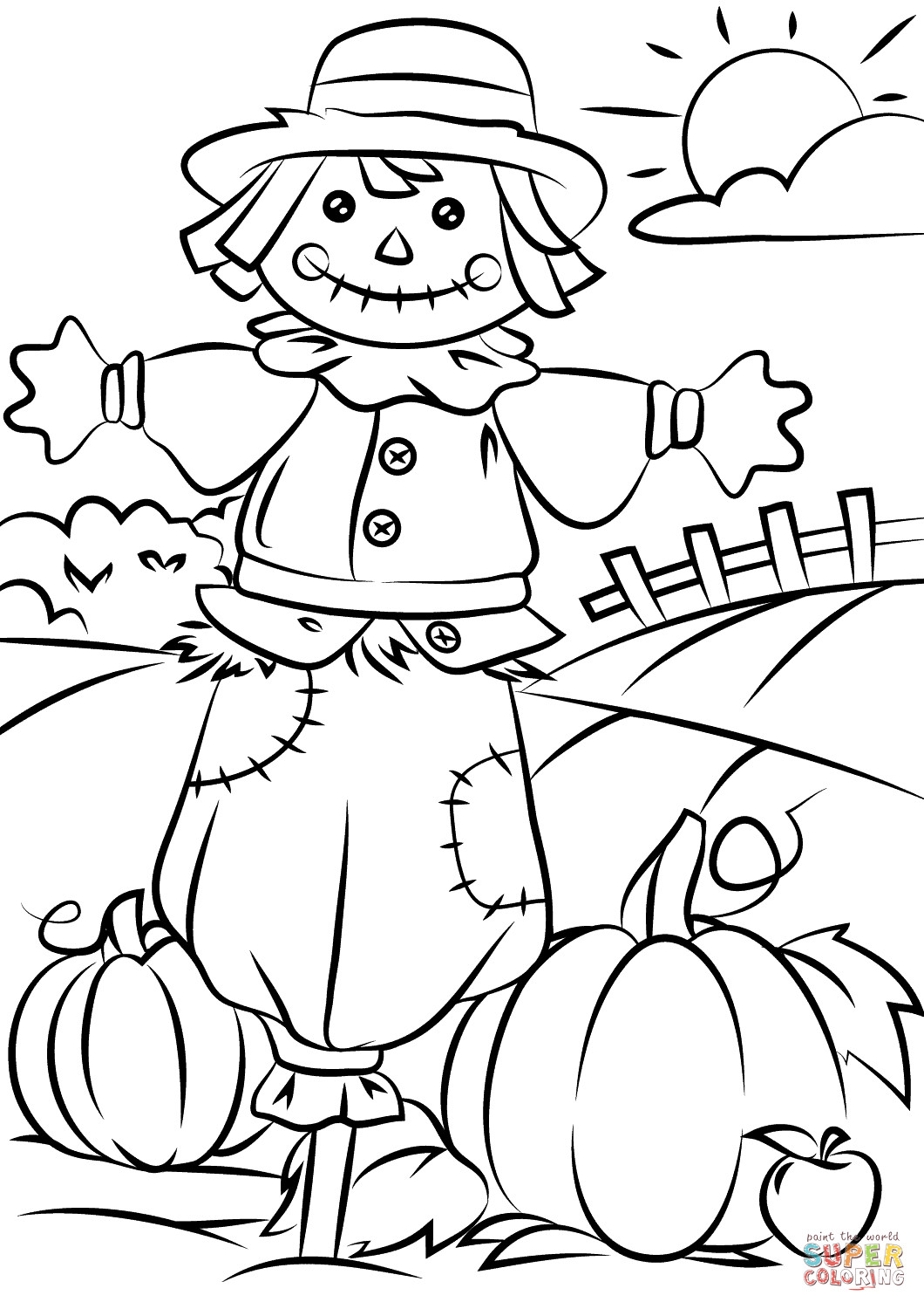 Best ideas about Free Printable Fall Coloring Pages For Kids . Save or Pin Autumn Scene with Scarecrow coloring page Now.