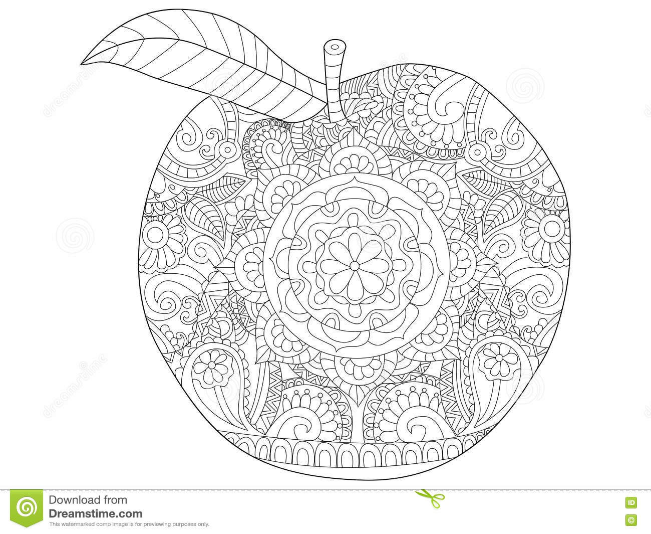 Best ideas about Fruit Coloring Pages For Adults . Save or Pin Apple Fruit Coloring Vector For Adults Stock Vector Now.