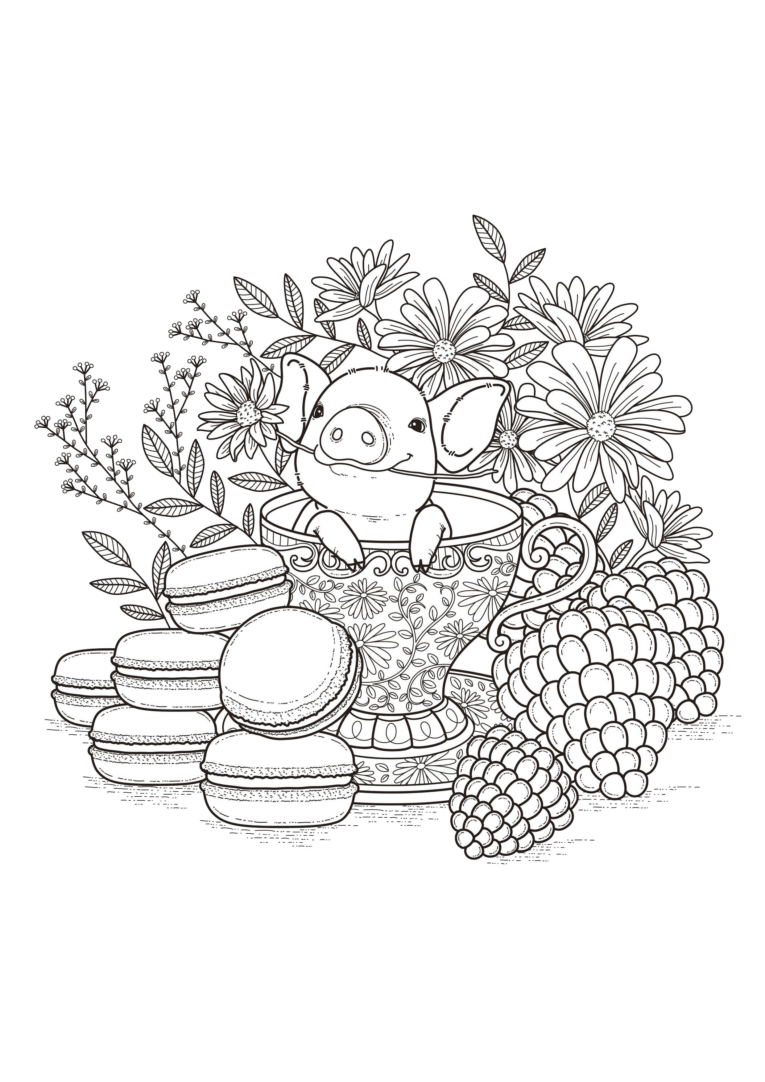 Best ideas about Fruit Coloring Pages For Adults . Save or Pin Fruits macaroons Flowers Adult Coloring Pages Page 3 Now.