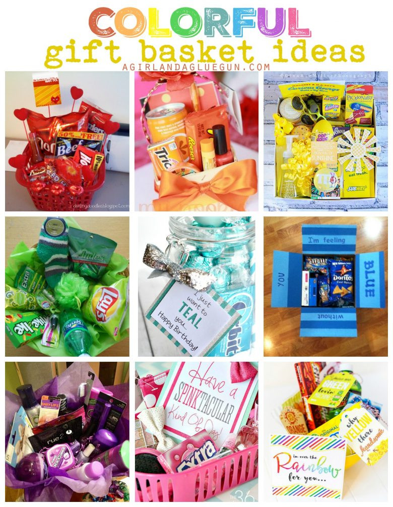 Best ideas about Gift Basket Theme Ideas . Save or Pin Colorful t basket ideas A girl and a glue gun Now.