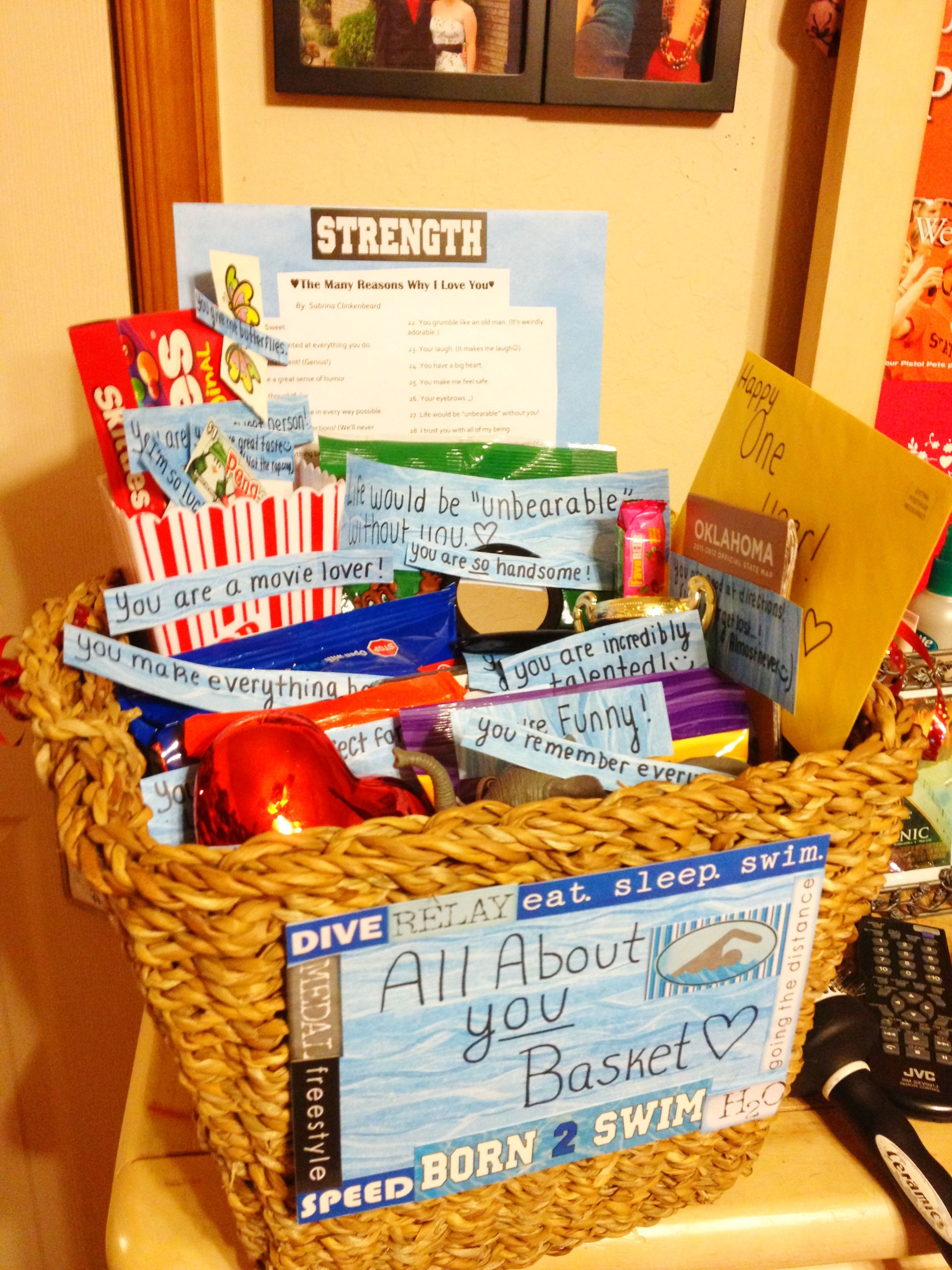 Best ideas about Gift Baskets Ideas For Boyfriend . Save or Pin All about you basket for an anniversary Very sweet and Now.
