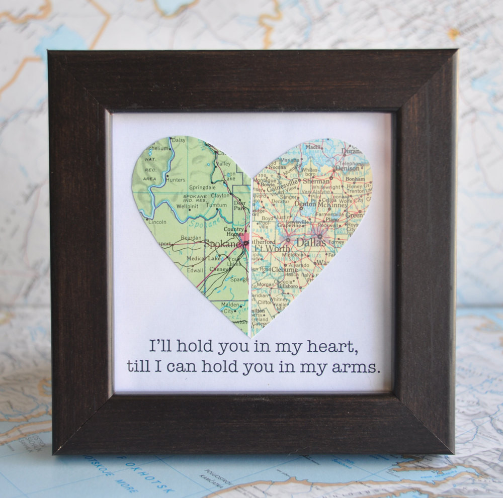 Best ideas about Gift Ideas For Long Distance Boyfriend . Save or Pin Long Distance Relationship Couple Map Heart Framed with Text Now.