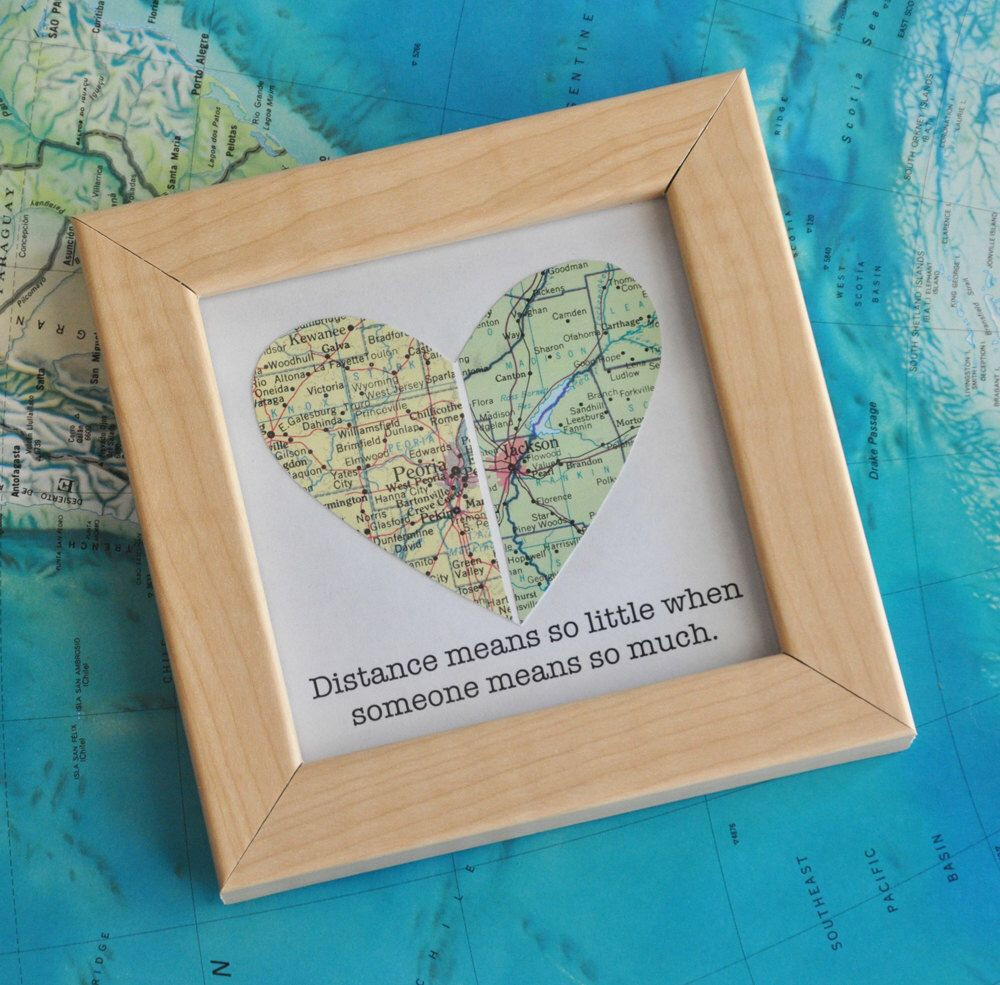 Best ideas about Gift Ideas For Long Distance Girlfriend . Save or Pin Long Distance Relationship Couple Map Heart Framed with Now.