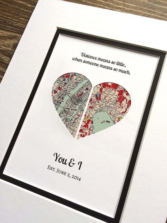 Best ideas about Gift Ideas For Long Distance Girlfriend . Save or Pin Long Distance Relationship Map Art Christmas Gift Gift Now.