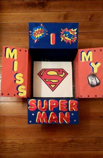 "Best ideas about Gift Ideas For Military Boyfriend . Save or Pin ""My original design A Superhero themed care package Now."