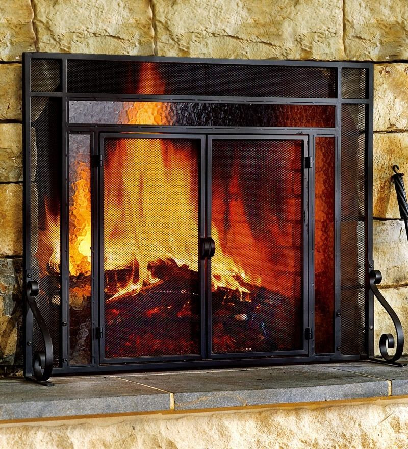 Best ideas about Glass Doors For Fireplace . Save or Pin 2 Door Steel Fireplace Screen w TempeRed Glass Accents Now.