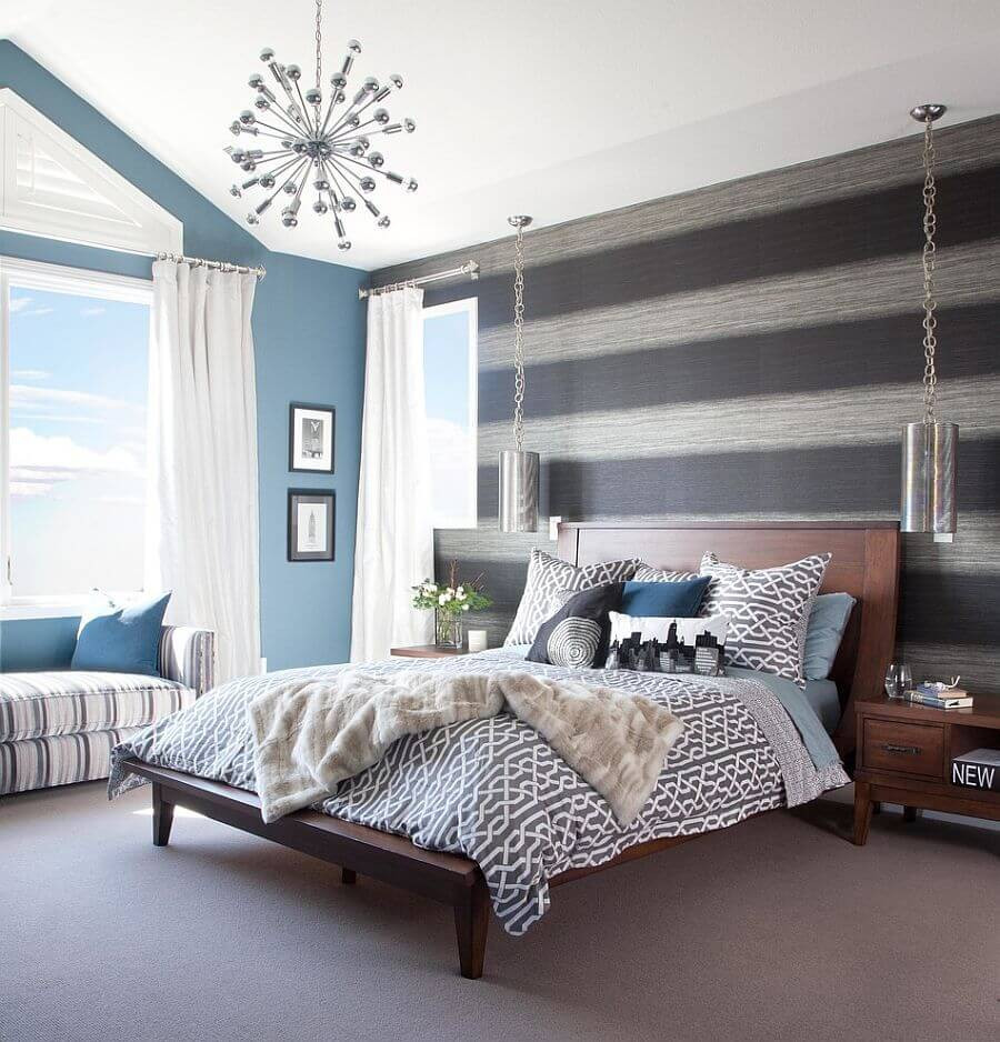 Best ideas about Grey Accent Wall Bedroom . Save or Pin 9 Bedroom Design Ideas with Striped Walls s Now.