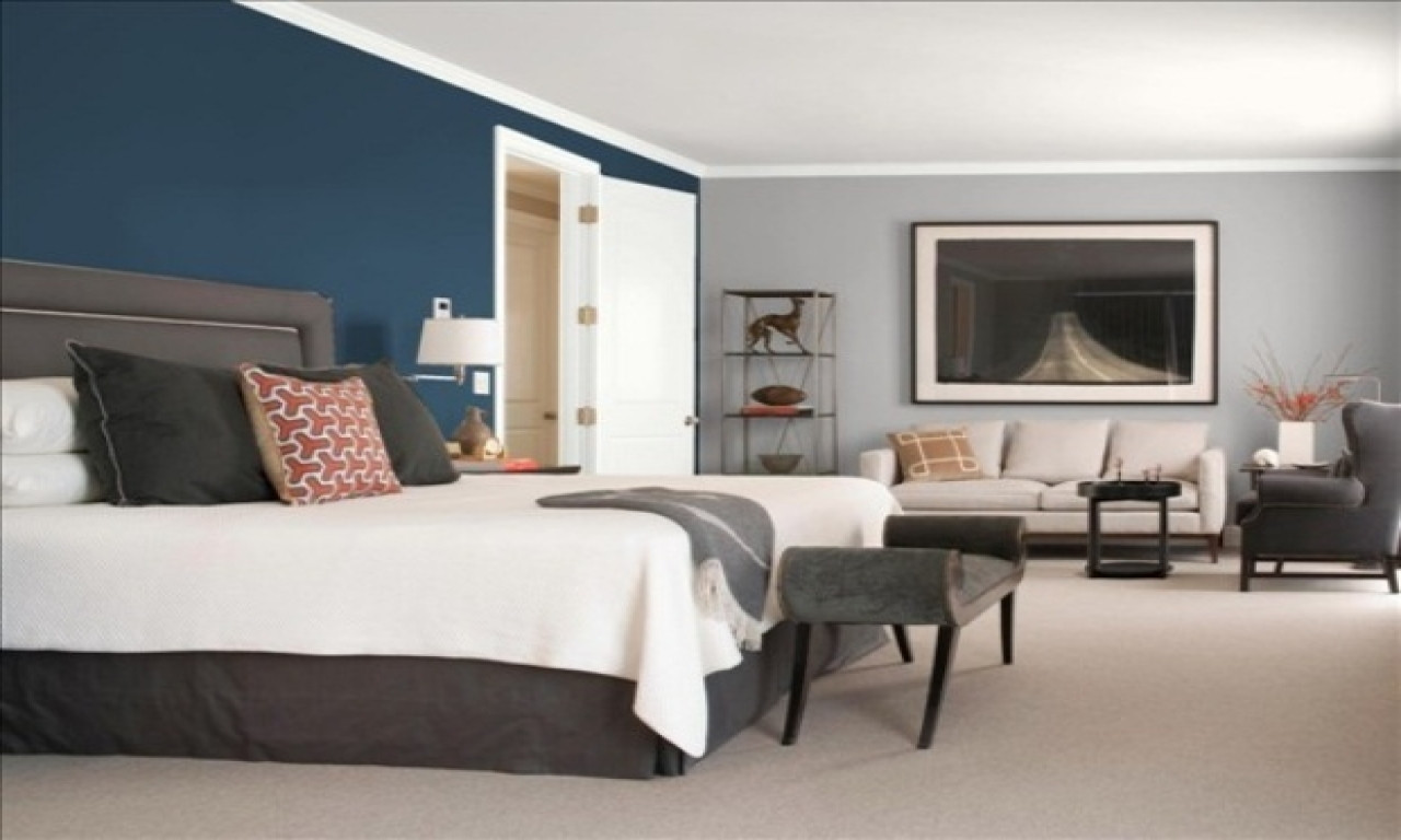 Best ideas about Grey Accent Wall Bedroom . Save or Pin Accents in design teal and gray bedroom blue and grey Now.