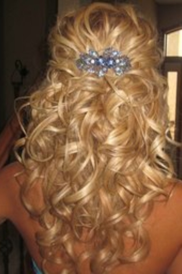 Best ideas about Half Up Half Down Curly Prom Hairstyles . Save or Pin Prom Hairstyles Down Now.