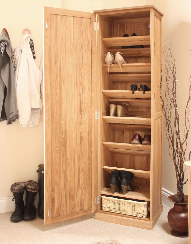 Best ideas about Hall Storage Cabinet . Save or Pin Mobel solid oak tall shoe cupboard hallway hall storage Now.