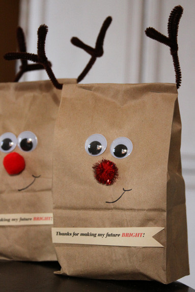 Best ideas about Holiday Gift Bag Ideas . Save or Pin Reindeer Wrap And An Easy Christmas Gift For Teachers Now.