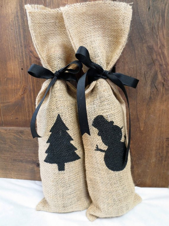 Best ideas about Holiday Gift Bag Ideas . Save or Pin Items similar to Set of 2 Christmas Burlap Gift Bags Wine Now.