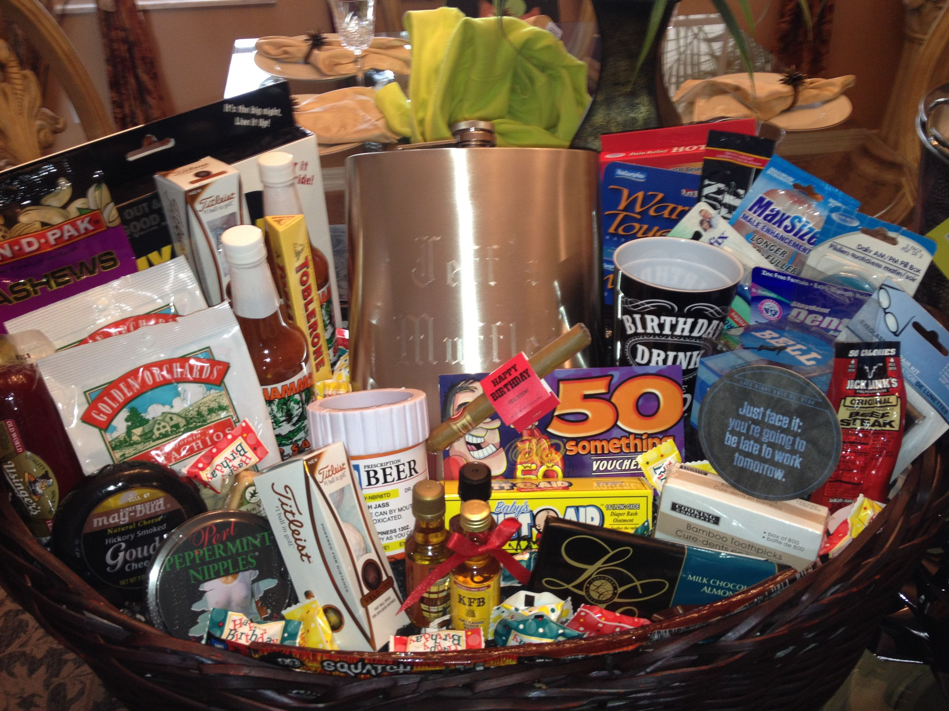 Best ideas about Homemade Funny 50th Birthday Gift Ideas . Save or Pin 50th Birthday Gift Basket For Him Now.