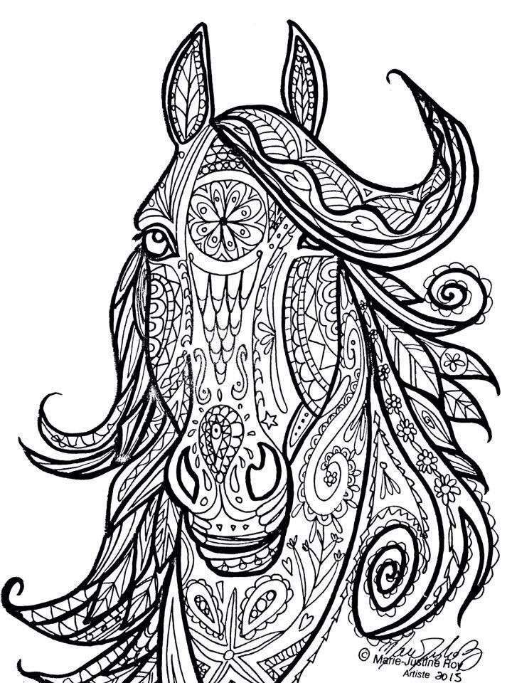 Best ideas about Horse Adult Coloring Books . Save or Pin Horse Tribal Head Art by Marie Justine Roy Now.