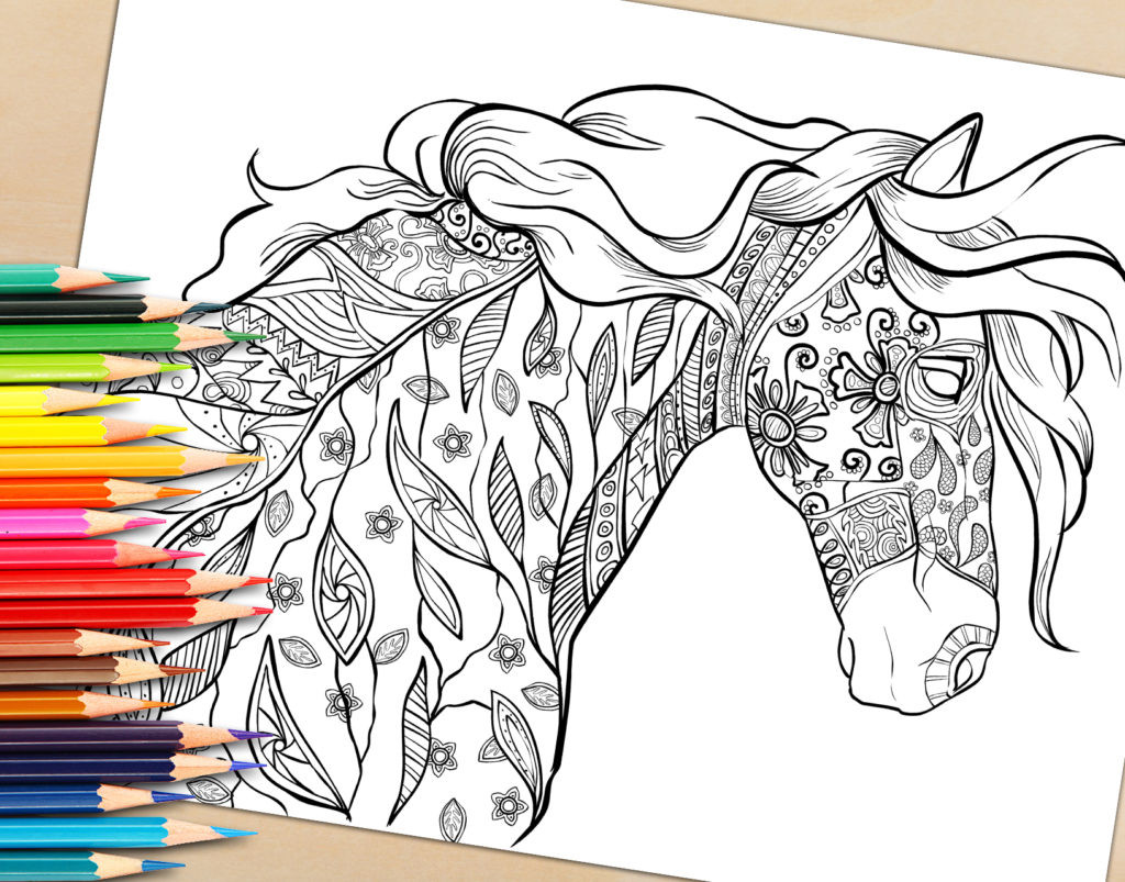Best ideas about Horse Adult Coloring Books . Save or Pin Coloring Pages Adult Coloring Book Page Decorative Horse Now.