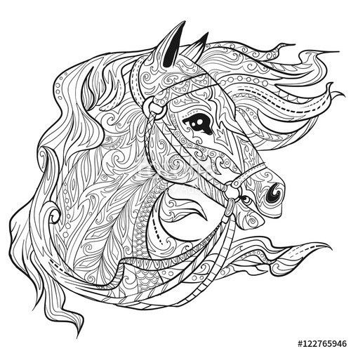 """Best ideas about Horse Adult Coloring Books . Save or Pin """"Hand drawn doodle horse face page Animal head Now."""