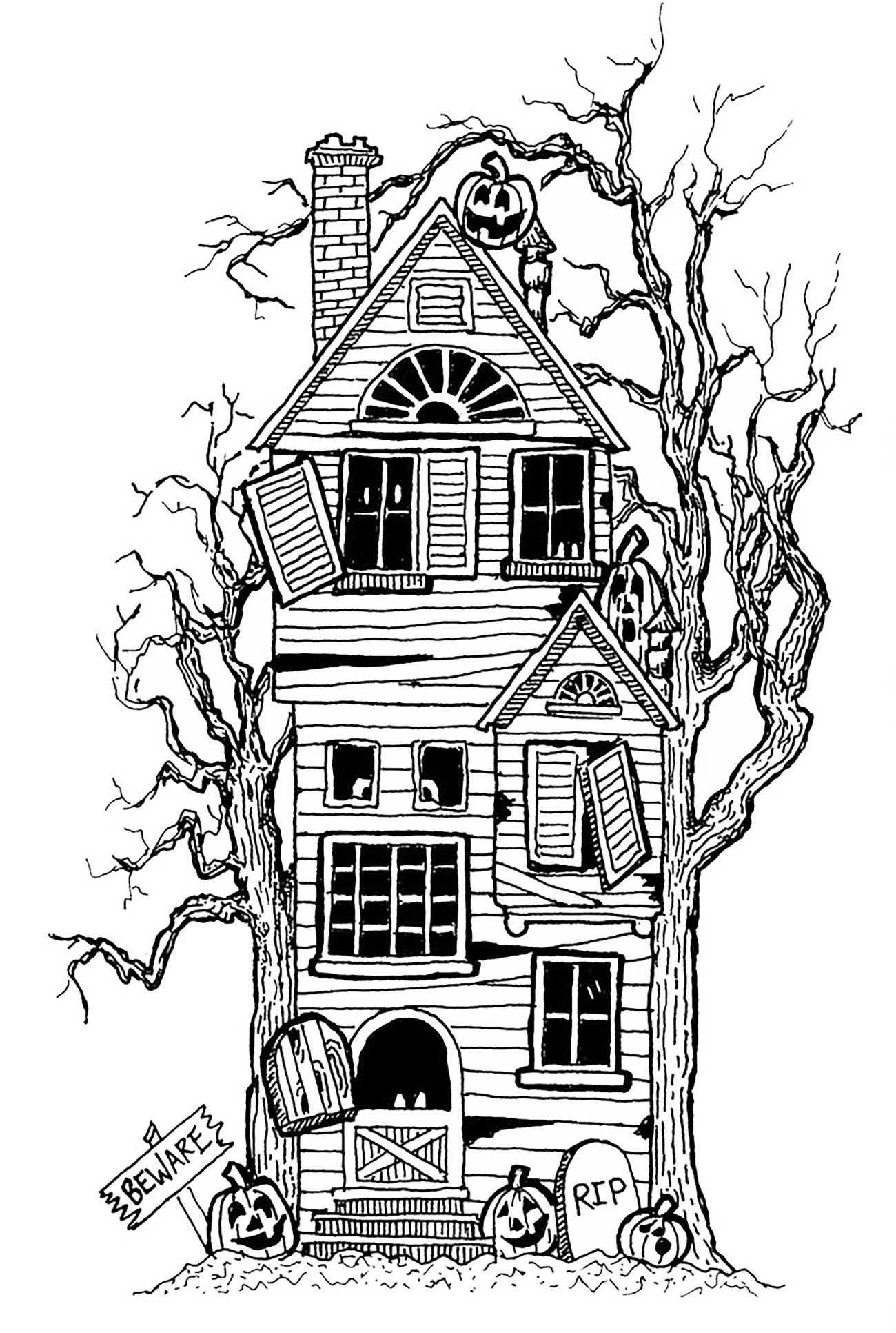 Best ideas about House Coloring Pages For Adults . Save or Pin Halloween big haunted house Halloween Adult Coloring Pages Now.