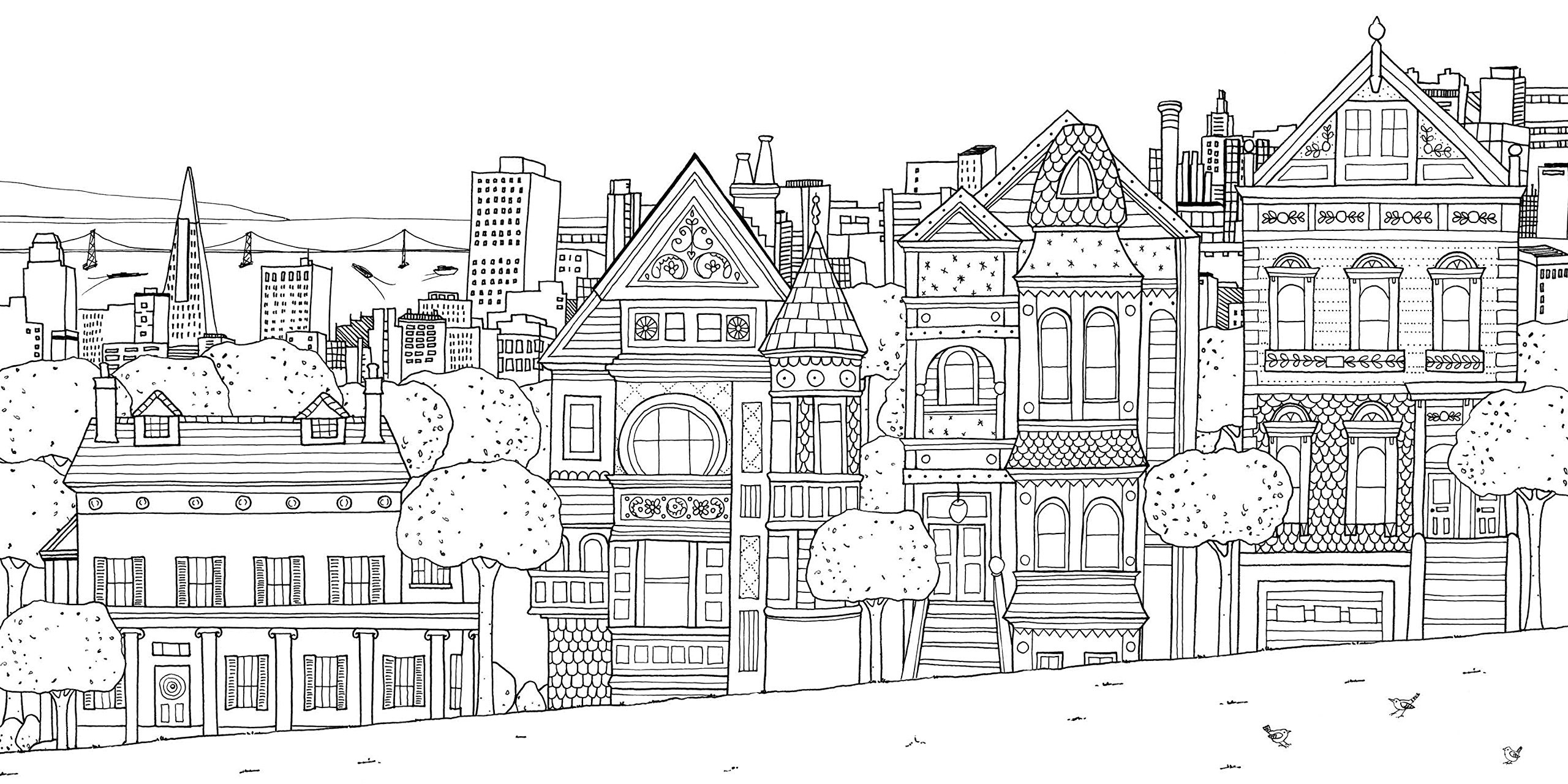 Best ideas about House Coloring Pages For Adults . Save or Pin San franscico houses Architecture Adult Coloring Pages Now.