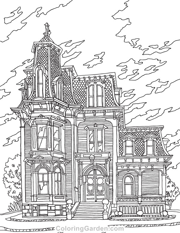 Best ideas about House Coloring Pages For Adults . Save or Pin Victorian House Adult Coloring Page Now.