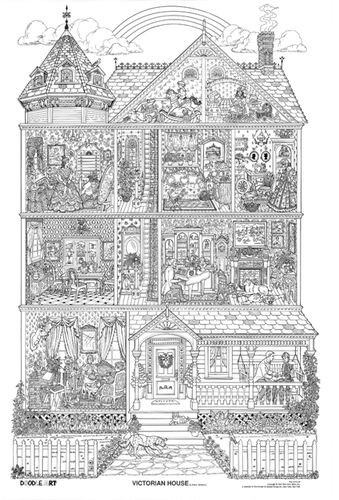 Best ideas about House Coloring Pages For Adults . Save or Pin Victorian houses Doodle art and Coloring on Pinterest Now.