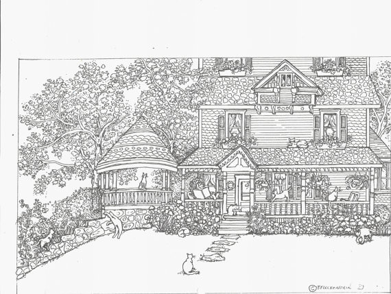 Best ideas about House Coloring Pages For Adults . Save or Pin Adult Coloring Page House Cats Bestofcoloring Now.