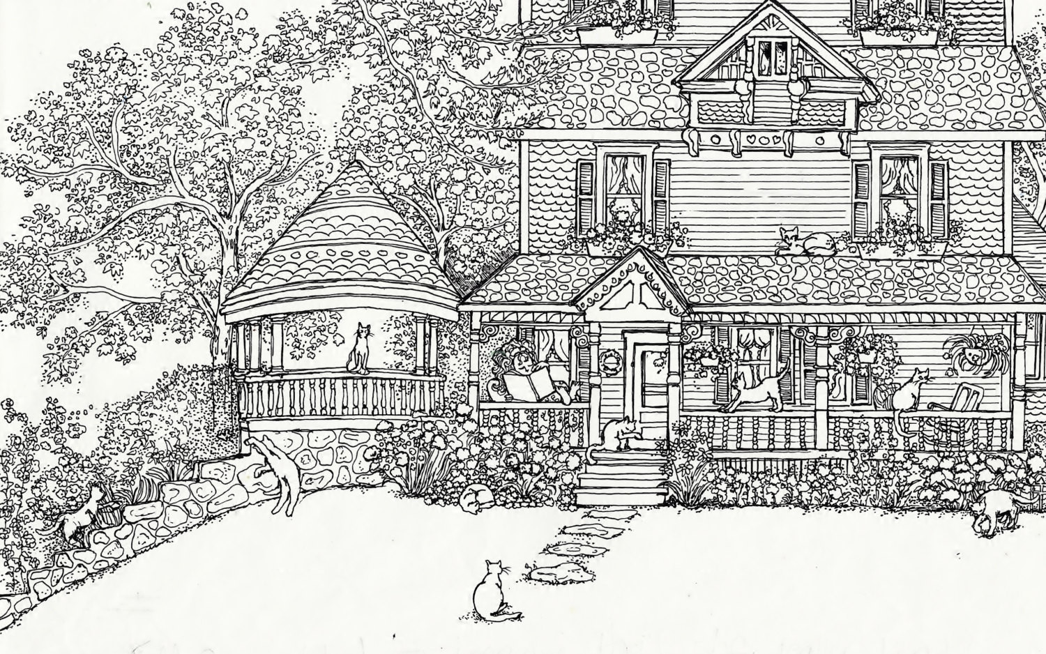 Best ideas about House Coloring Pages For Adults . Save or Pin Adult Coloring Page House Cats Instant Now.