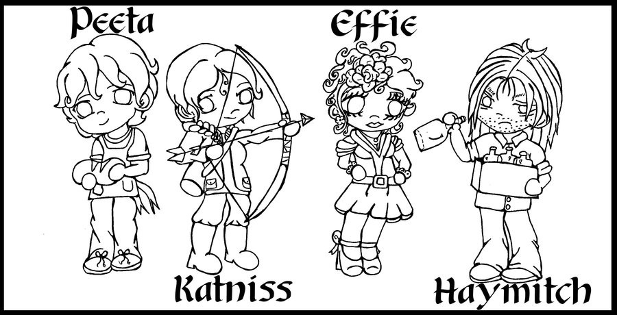 Best ideas about Hunger Games Coloring Sheets For Girls . Save or Pin Hunger Games Chibis Line art by Fallonkyra on DeviantArt Now.