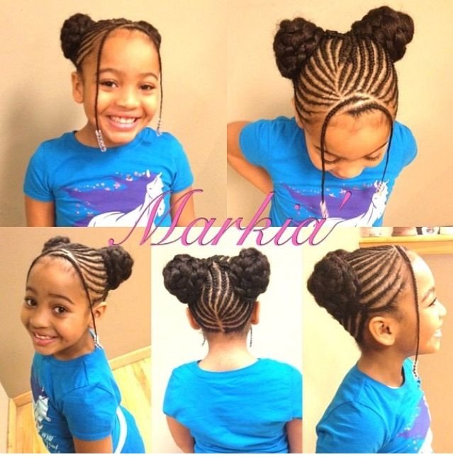 Best ideas about Kids Hairstyles For School . Save or Pin Braided buns bangs beads Hair Pinterest Now.