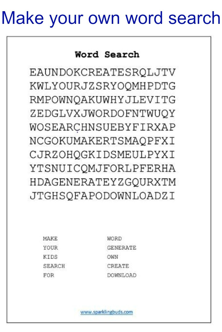 Best ideas about Kids Make Your Own . Save or Pin Make your own word search for kids sparklingbuds Now.