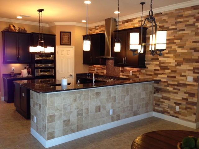 Best ideas about Kitchen Accent Wall . Save or Pin Kitchen Remodel Wood Accent Wall Contemporary Kitchen Now.