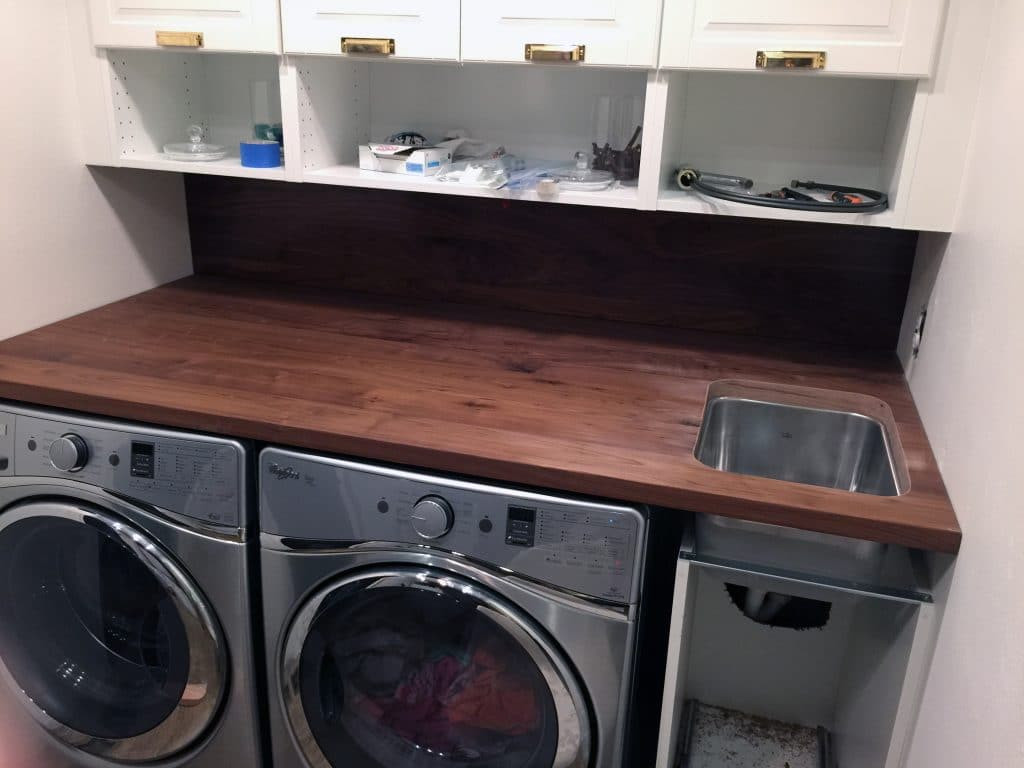 Best ideas about Laundry Room Countertop . Save or Pin A Walnut Counter And Backsplash in the Laundry Room Now.