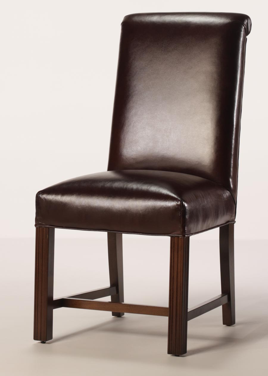 Best ideas about Leather Dining Chair . Save or Pin Leather Rolled Back Chippendale Dining Chair with Full Seat Now.