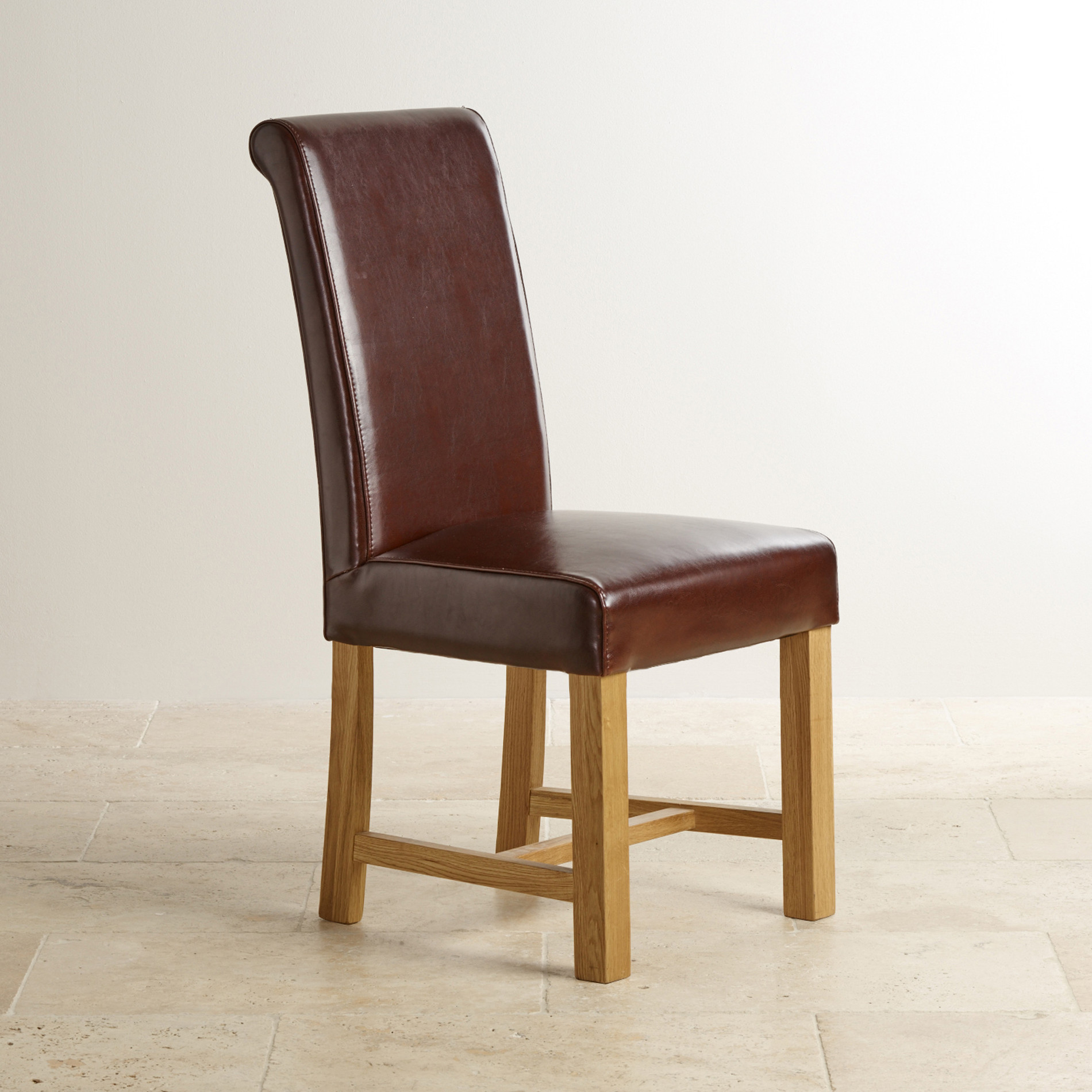 Best ideas about Leather Dining Chair . Save or Pin Brown Leather Dining Chair with Braced Oak Legs Now.
