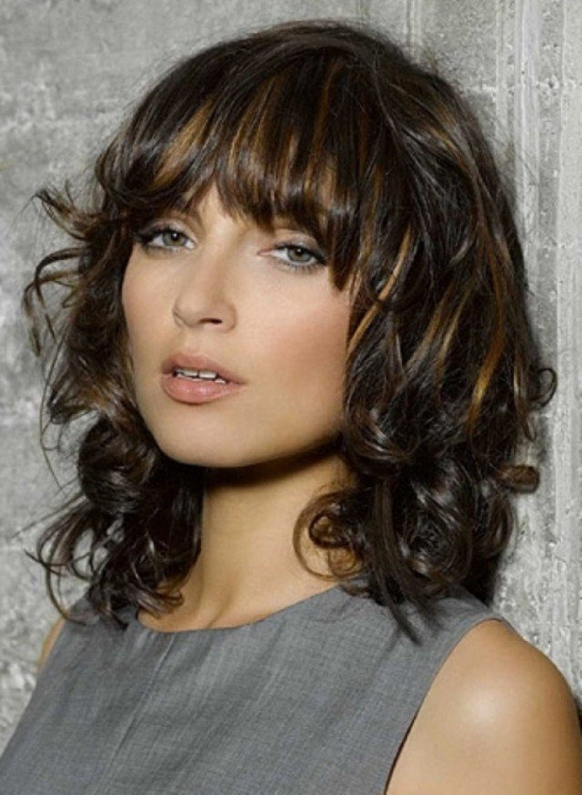 Best ideas about Medium Curly Hairstyles With Bangs . Save or Pin 17 Fashionable Hairstyles with Pretty Fringe Now.