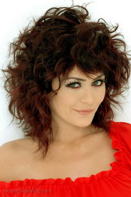 Best ideas about Medium Curly Hairstyles With Bangs . Save or Pin Medium length curly haircuts with bangs Now.