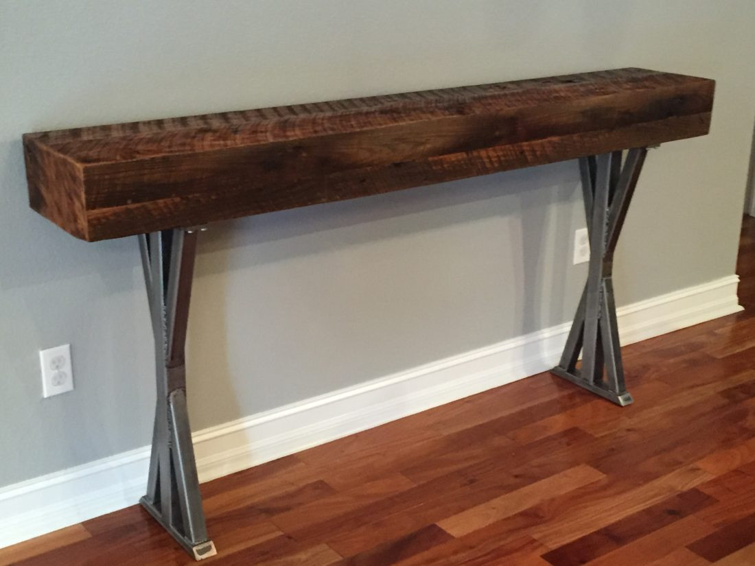 Best ideas about Metal Entryway Table . Save or Pin Trevor s Reclaimed Wood Foyer Table with Metal Legs Now.