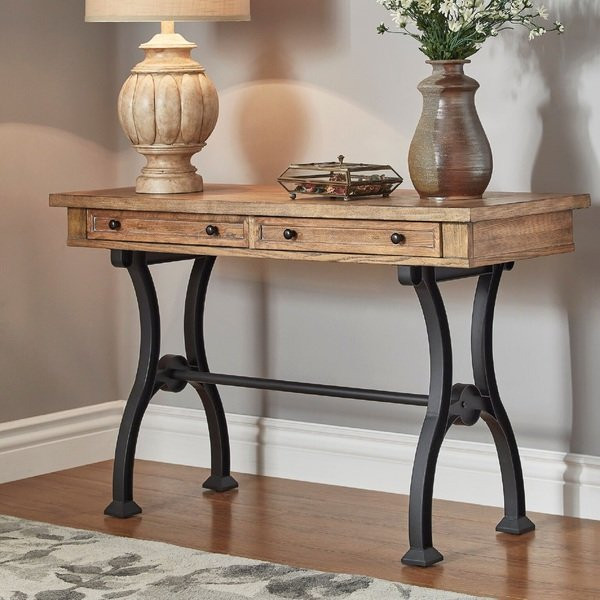 Best ideas about Metal Entryway Table . Save or Pin Shop Lloyd Wood and Metal Trestle Base Sofa Entryway Table Now.
