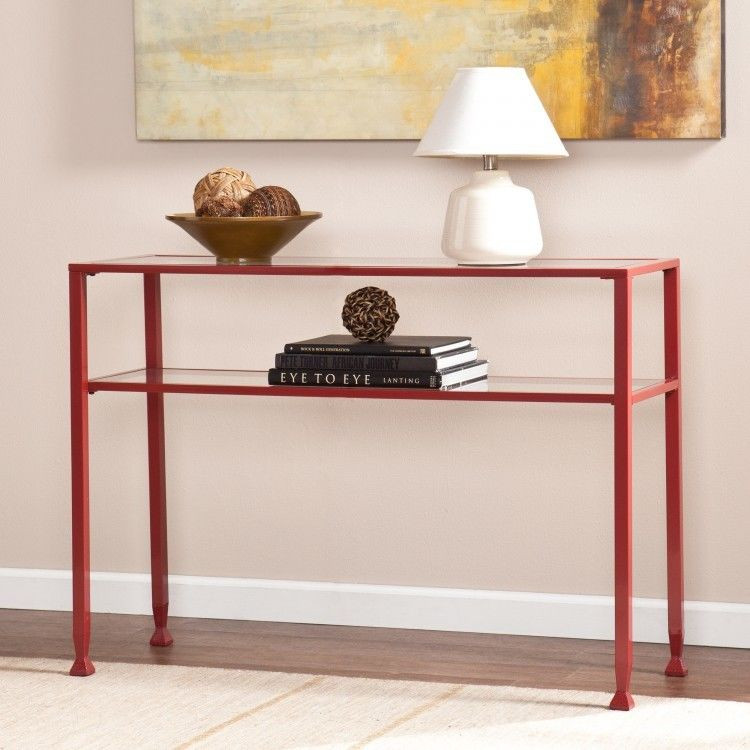 Best ideas about Metal Entryway Table . Save or Pin Red Sofa Table Console Metal Glass Top Entryway Side Now.