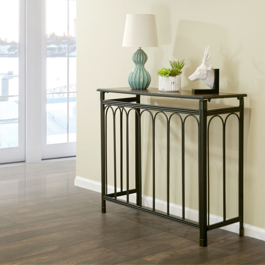 Best ideas about Metal Entryway Table . Save or Pin Black Metal Console Table Dark Brown Birch Wood Top Accent Now.