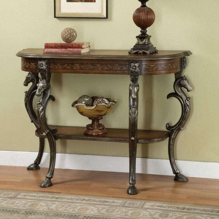 Best ideas about Metal Entryway Table . Save or Pin Furniture Brown Polished Wooden Entryway Table With Now.