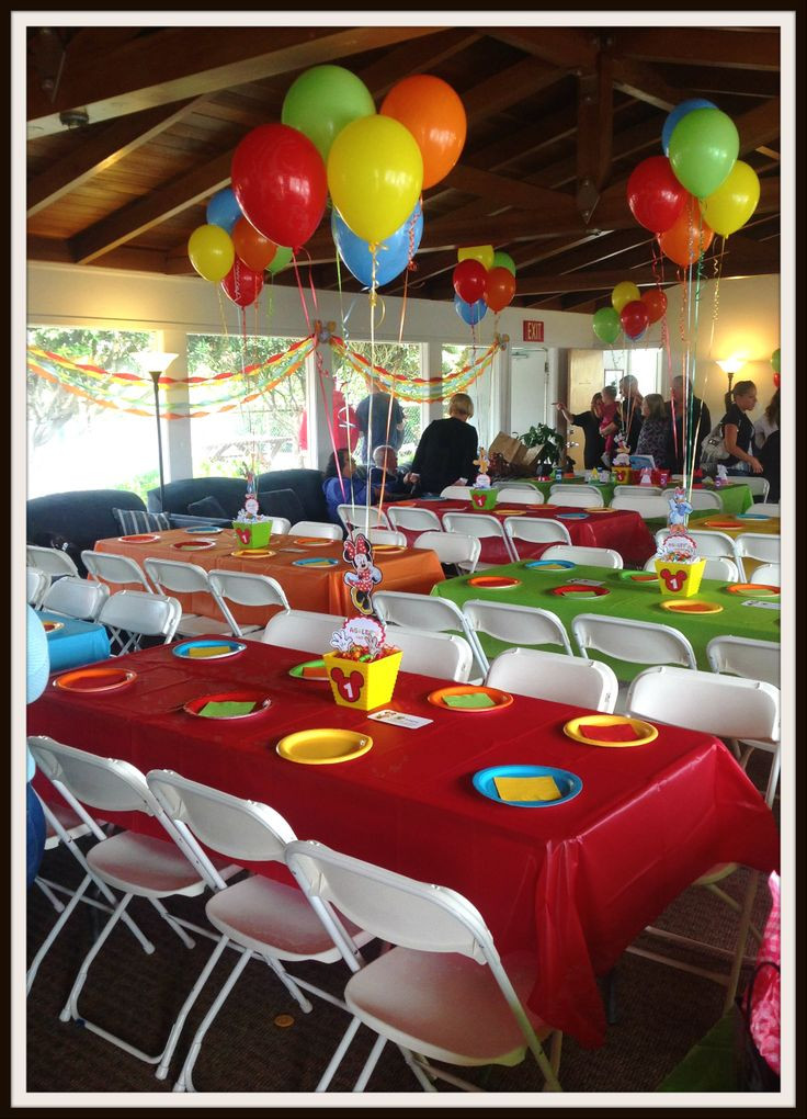 Best ideas about Mickey's Birthday Party . Save or Pin Mickey 039 s Clubhouse Table Set Up JUST LOVELY FAVORS Now.
