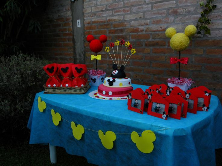 Best ideas about Mickey's Birthday Party . Save or Pin Mickey Mouse Birthday Table Set Up Goo Bags Cake And Now.