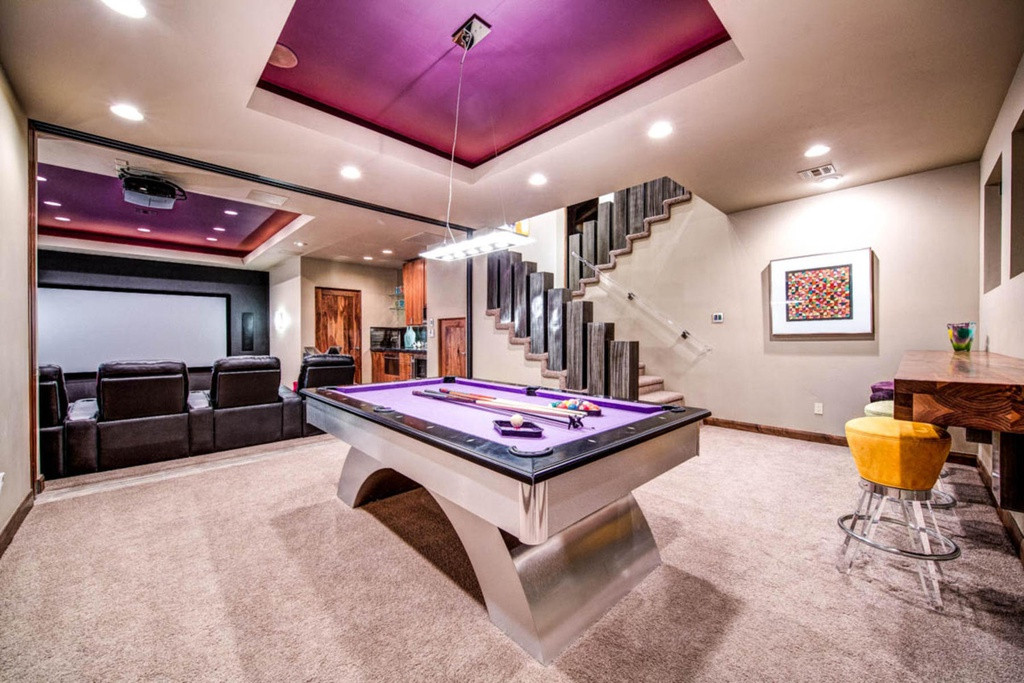 Best ideas about Modern Game Room . Save or Pin Modern Game Room with High ceiling & Carpet Now.