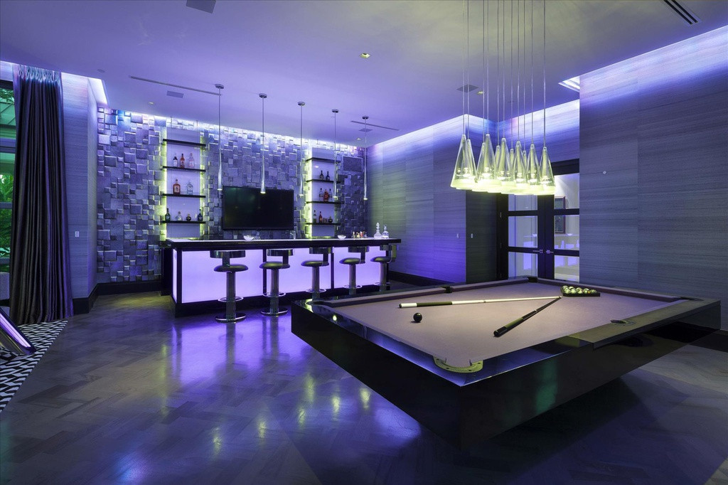 Best ideas about Modern Game Room . Save or Pin Modern Game Room with Chandelier & Hardwood floors in Now.