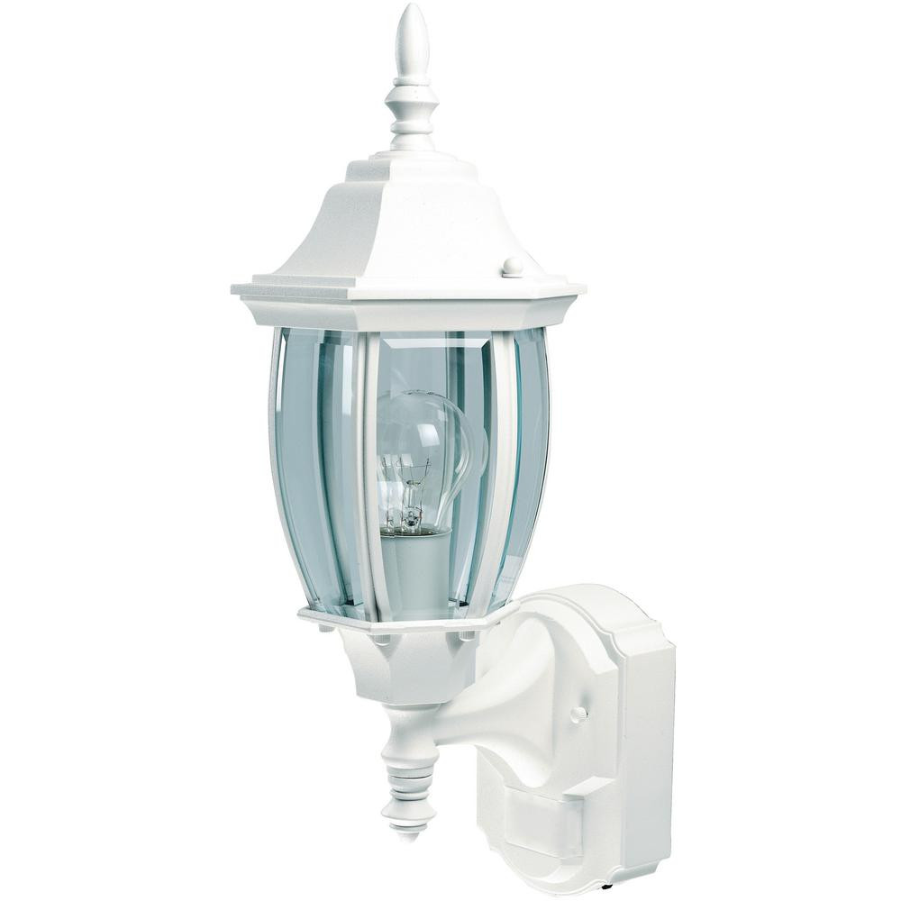 Best ideas about Motion Sensor Porch Light . Save or Pin Alexandria White Outdoor Wall Light Fixture Motion Sensor Now.