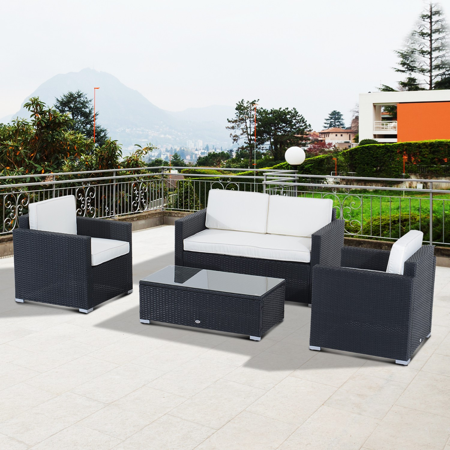Best ideas about Outsunny Patio Furniture . Save or Pin Outsunny 4 Piece Cushioned Outdoor Rattan Wicker Sofa Set Now.