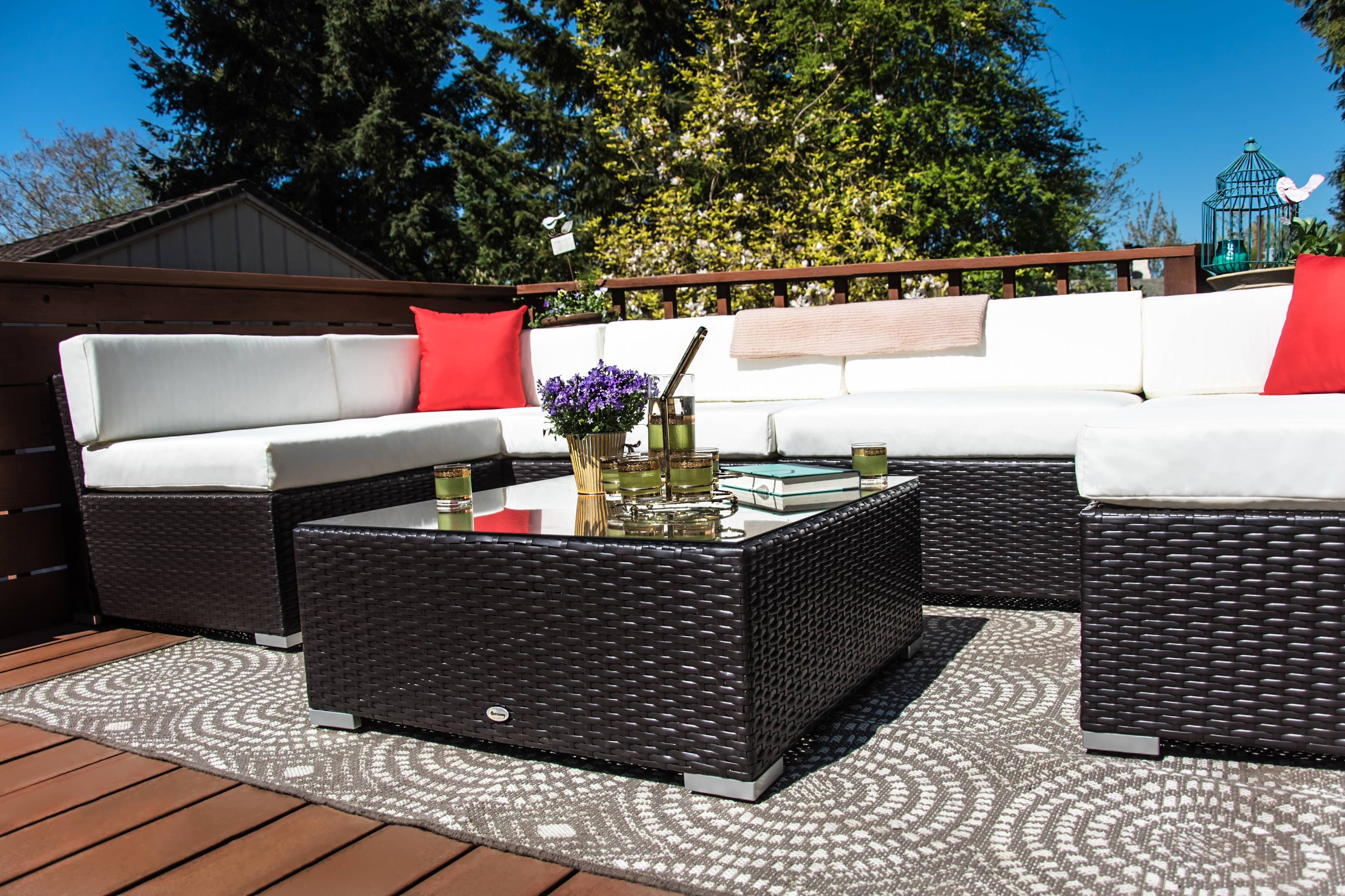 Best ideas about Outsunny Patio Furniture . Save or Pin Outsunny 7 Piece Outdoor Patio PE Rattan Wicker Sofa Now.